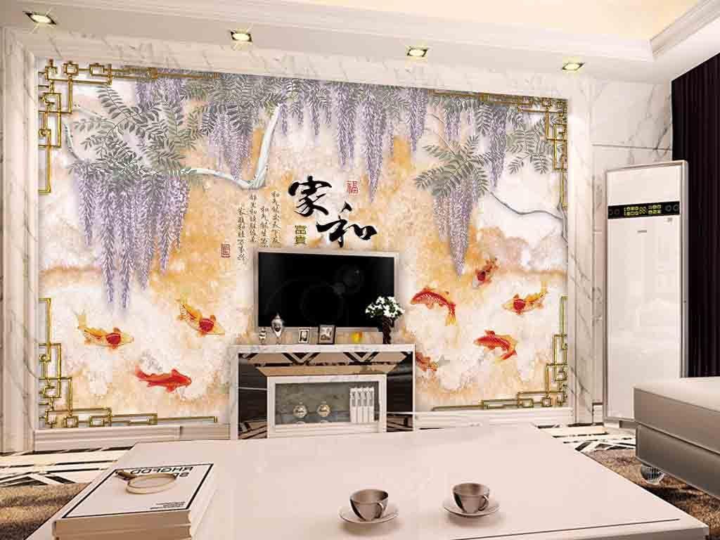 背景墙|装饰画 电视背景墙 中式电视背景墙 > 超清大理石花藤九鱼图图片