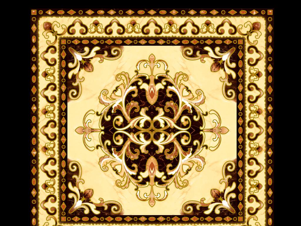 超高清欧式地砖拼花地花吊顶图片