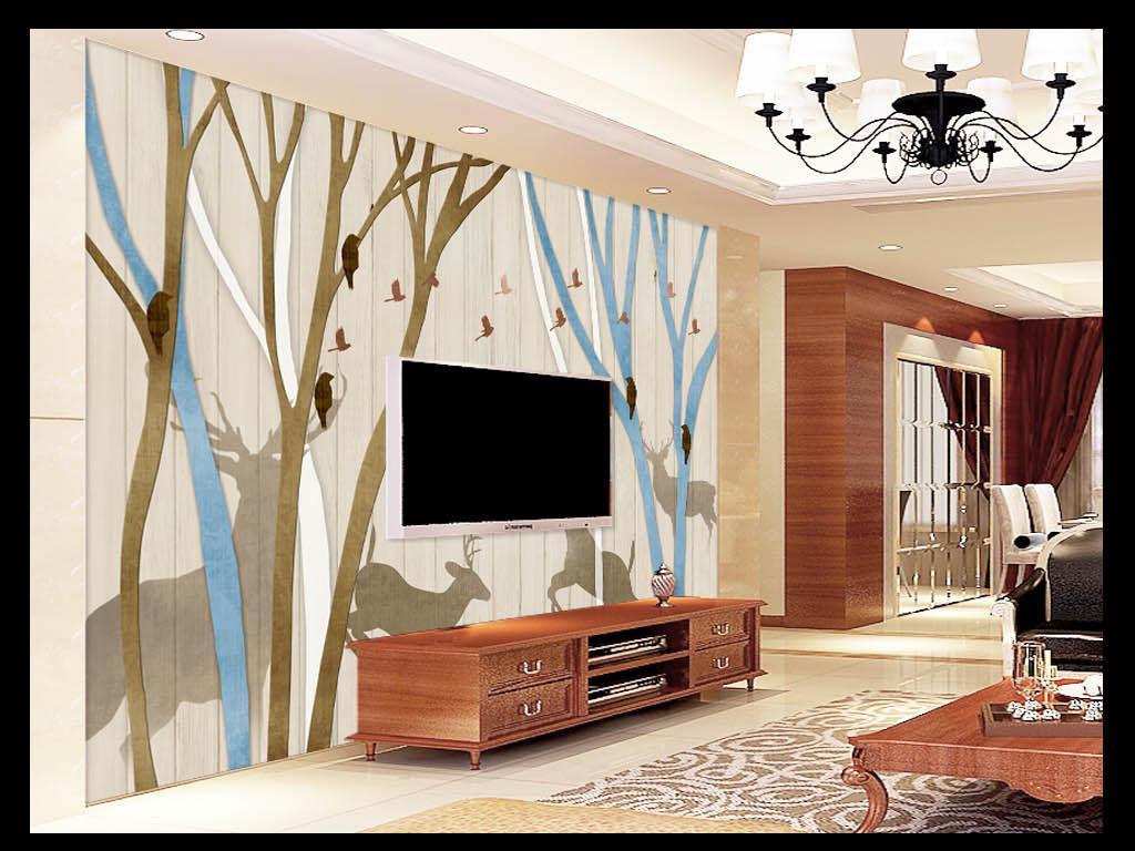 美式复古麋鹿森林背景墙图片