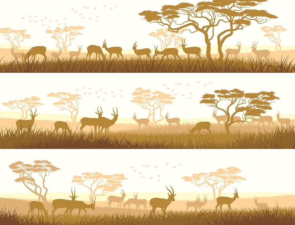 手绘现代简约大自然素雅背景墙装饰画