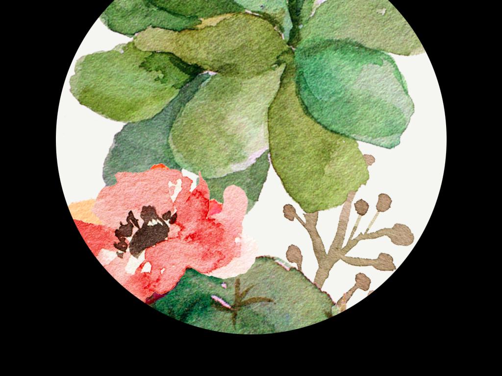 手绘复古欧式玫瑰多肉植物兔子剪影花环仙人掌芦荟进口画芯欧美画芯画