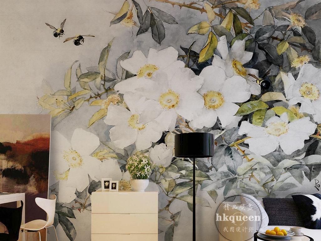 新中式手绘素雅时尚蜜蜂采蜜茶花电视背景墙