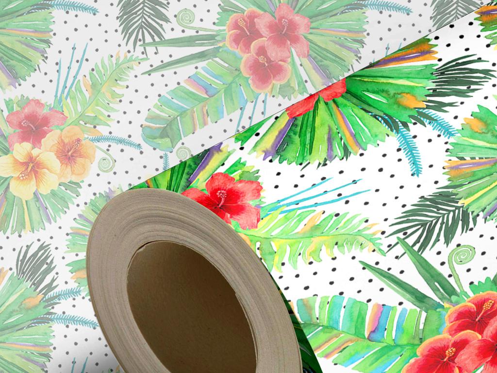 简约时尚素雅热带雨林植物手绘花卉欧式墙纸