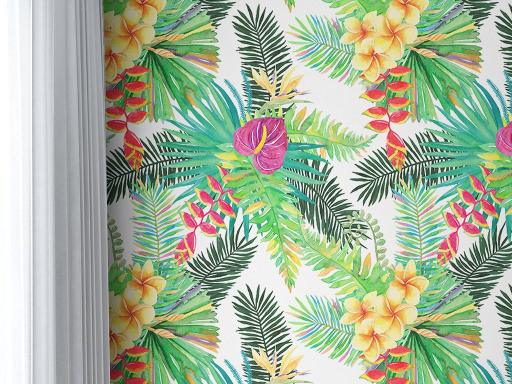地中海热带雨林植物花卉复古时尚欧式墙纸