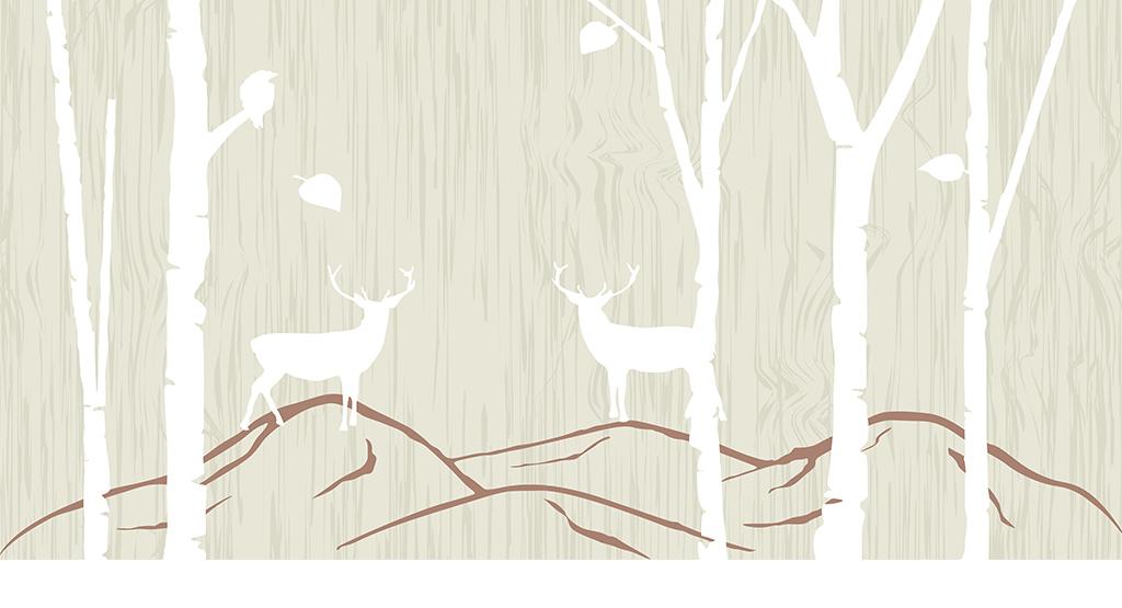 抽象手绘森林怀旧驯鹿背景墙装饰画