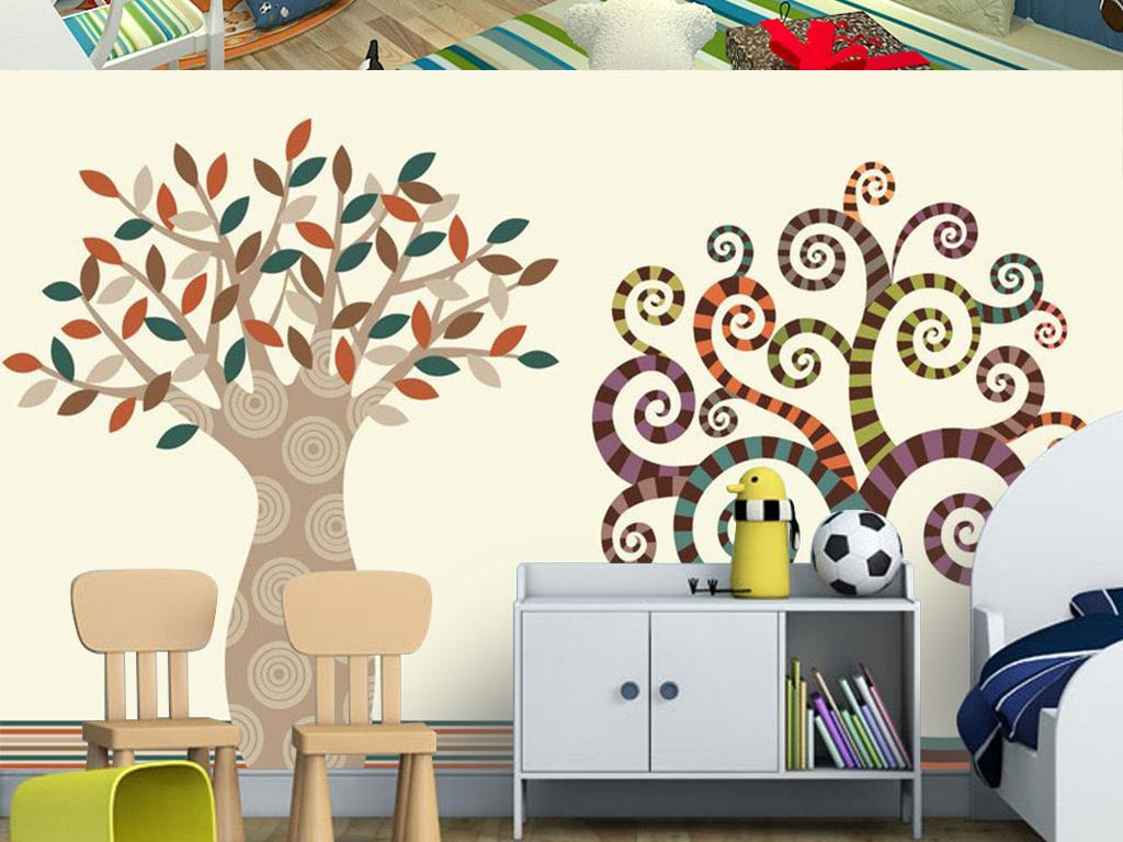 清新手绘抽象树电视背景墙装饰画