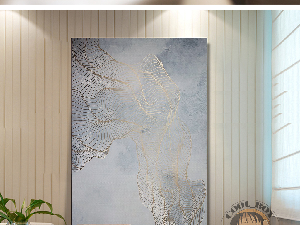 新中式简约时尚艺术金色花纹大气装饰画