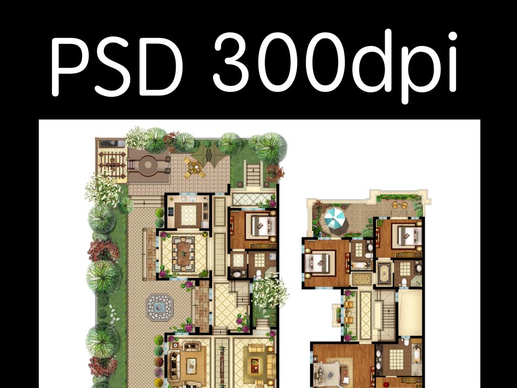 别墅户型图模板psd手绘高清分层素材图片下载户型图模版户型效果图室