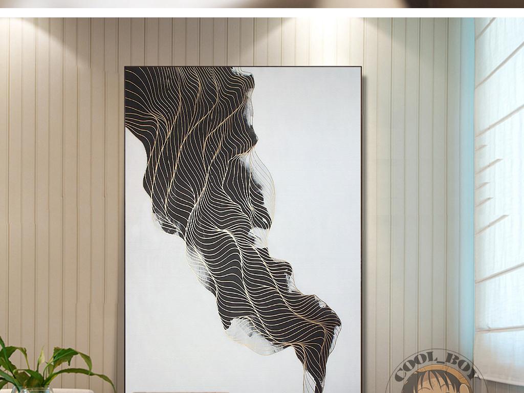 新中式抽象复古水墨大气艺术装饰画图片
