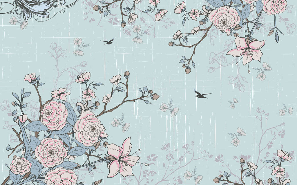 欧美田园手绘玫瑰花电视背景墙