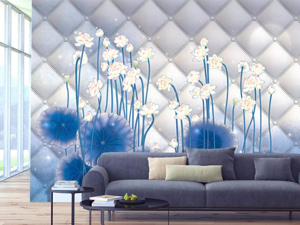 背景墙|装饰画 电视背景墙 手绘电视背景墙 > 手绘蓝色仿软包荷花背景
