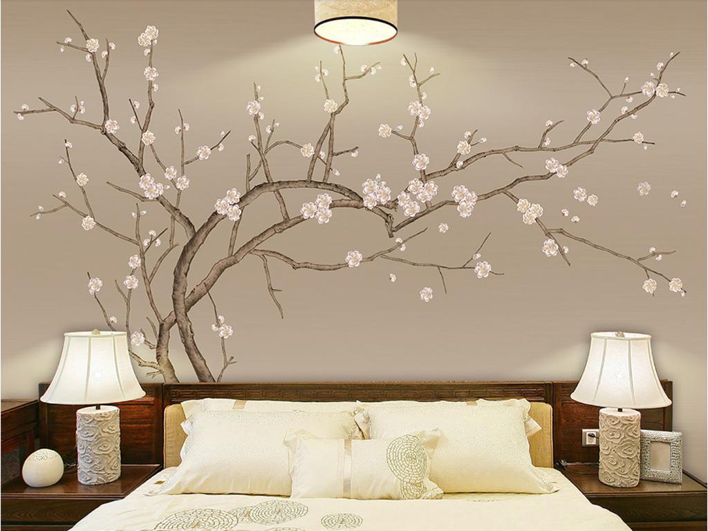 背景墙|装饰画 壁画 手绘壁画 > 手绘梅花新中式工笔画梅花花鸟  版权