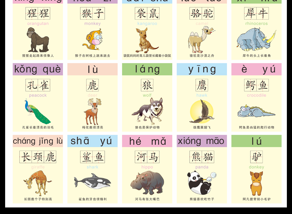 校园文化建设幼儿动物名称双语识字挂画