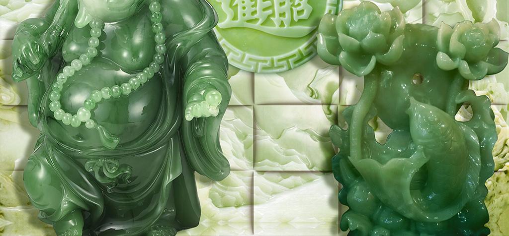 玉雕招财进宝弥勒佛荷花中式背景墙图片