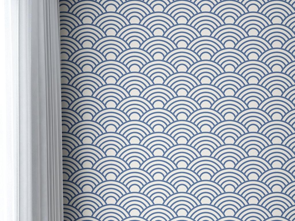 典雅简单图案素雅时尚蓝色壁纸手绘壁纸手绘图案