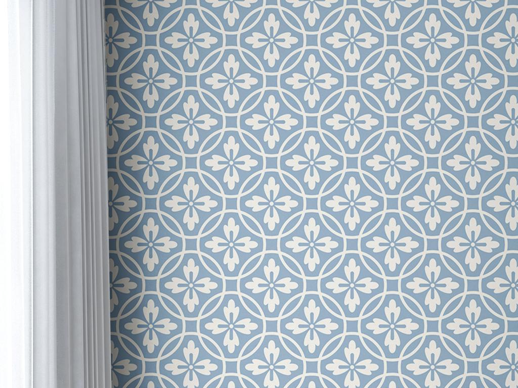 蓝色简单花纹图案小碎花几何图形美式墙纸图片
