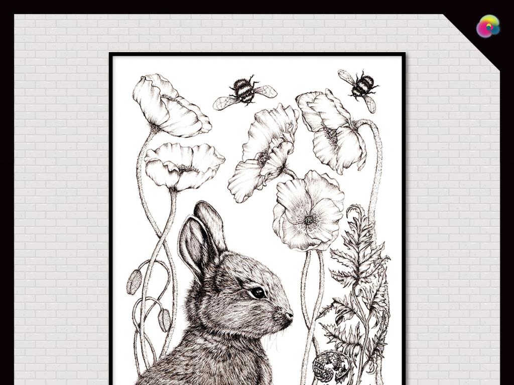 背景墙|装饰画 无框画 动物图案无框画 > 手绘黑白素描速写简约欧式