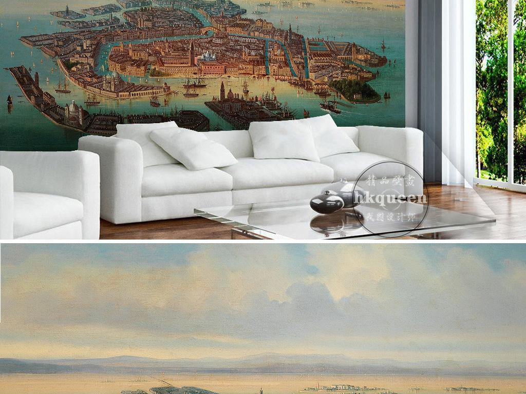 复古手绘背景墙抽象风景背景墙欧式简欧简美北欧手绘咖啡馆图案素雅