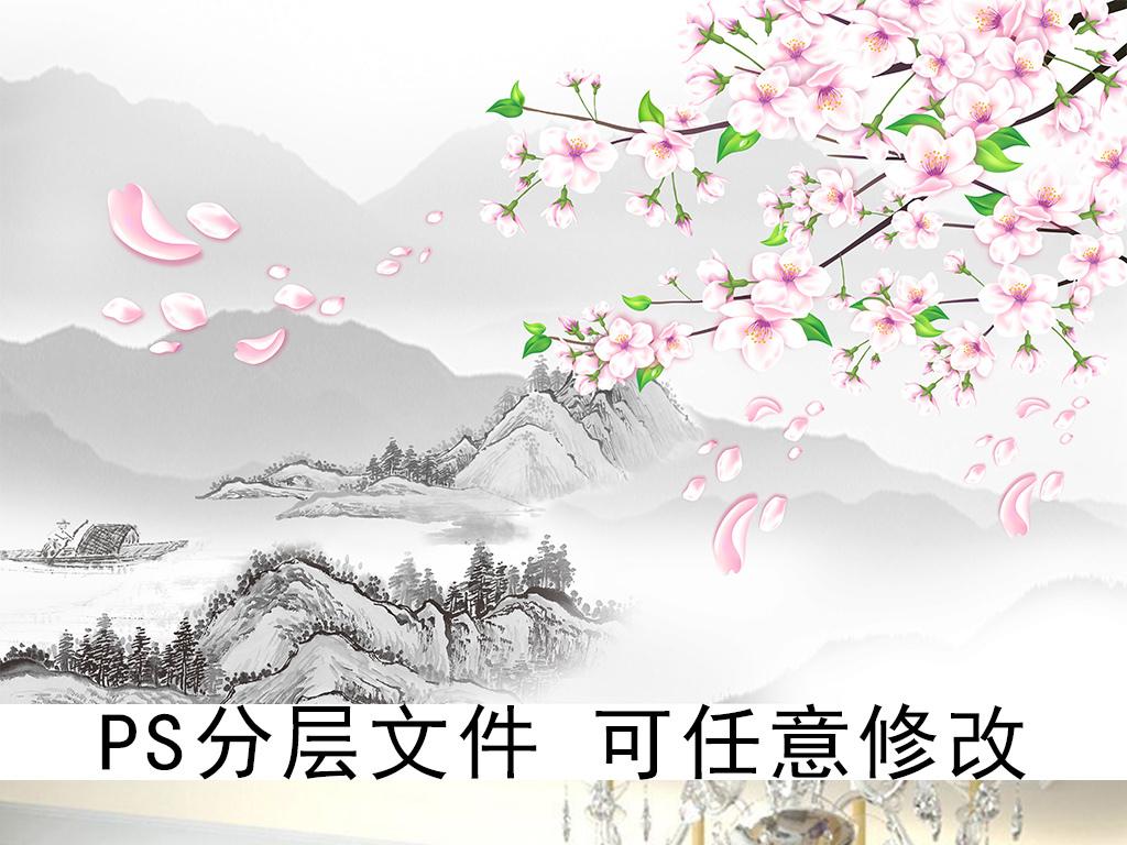 桃花古典背景图