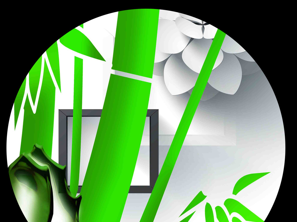 高清手绘竹报平安3d背景墙图片设计素材_psd模板下载