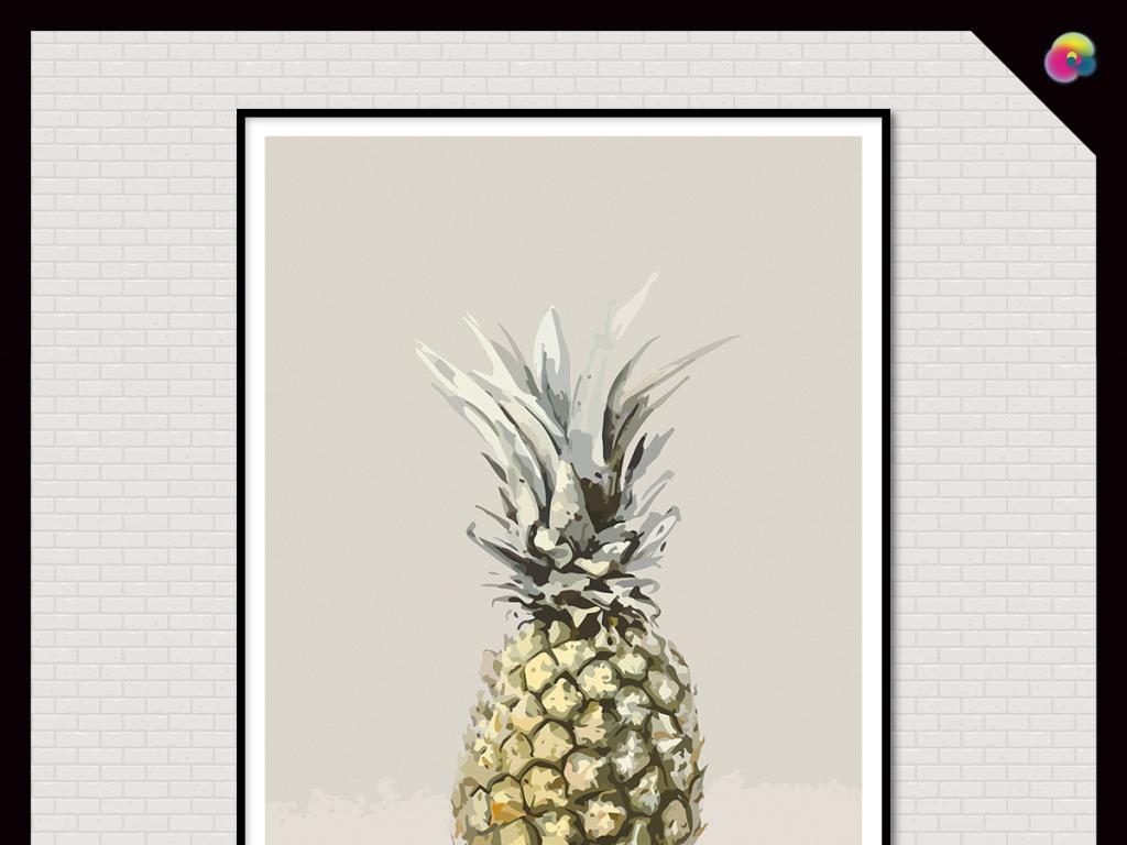 古做旧葡萄菠萝水果静物写实油画印花图案