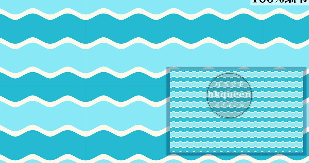 简单线条典雅简单图案素雅时尚蓝色壁纸手绘