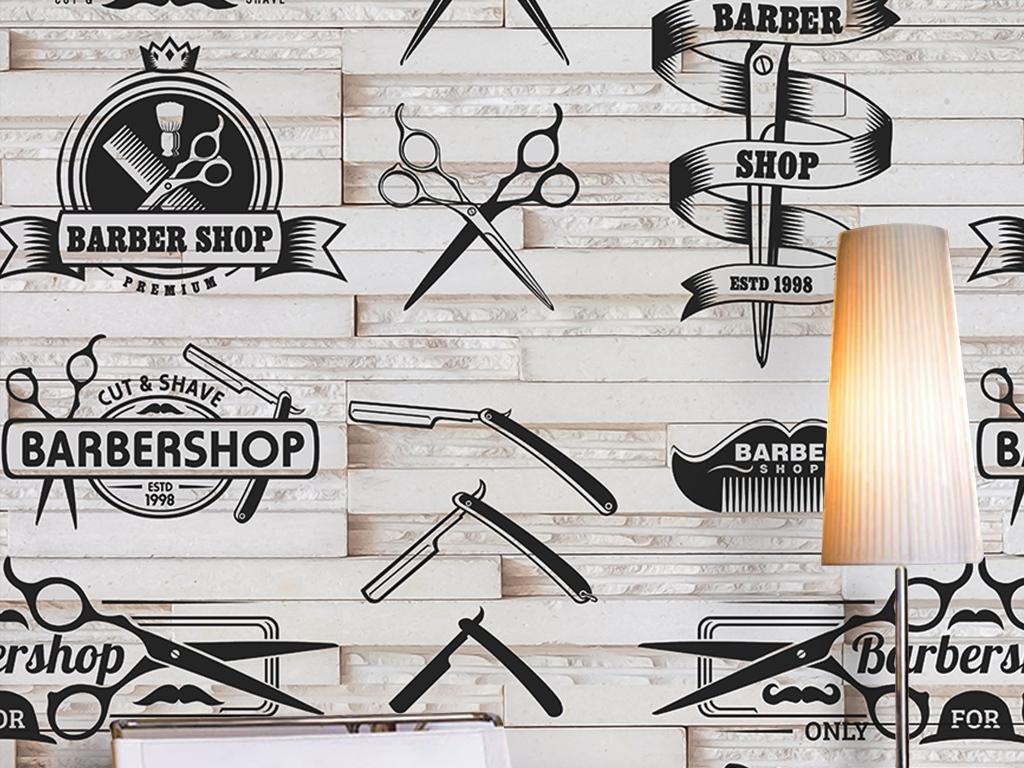 手绘剪刀理发店铺工具广告剪影木板欧式墙纸