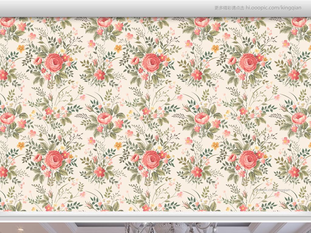 温馨典雅玫瑰花朵美式墙纸(图片编号:15501329)_美式图片