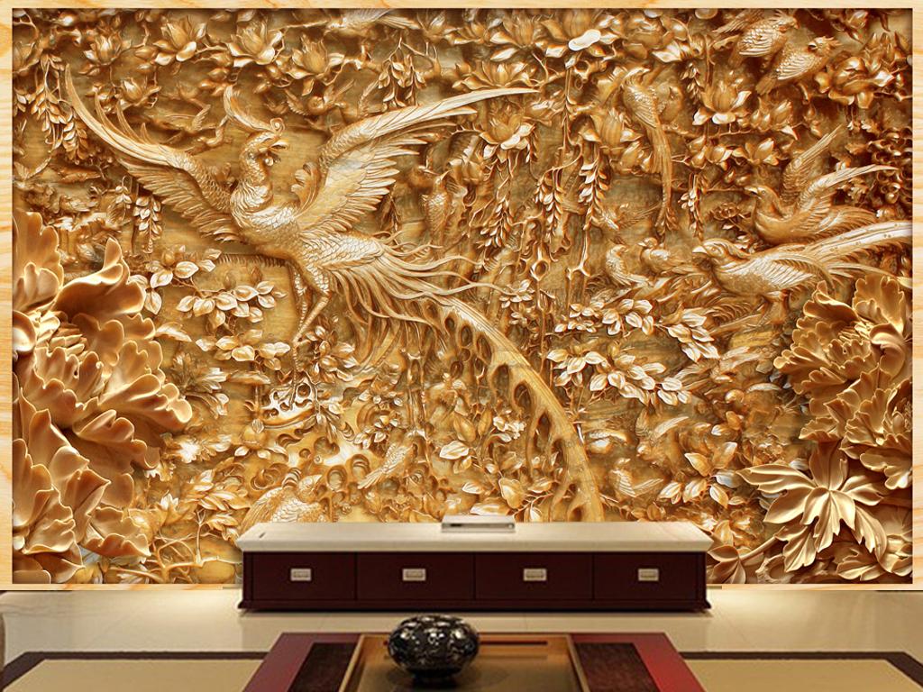 木雕凤凰牡丹壁画
