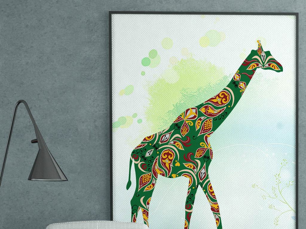长颈鹿民族风室内装饰画图片设计素材_高清psd模板(34图片