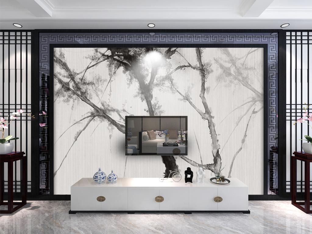 新中式抽象水墨画电视背景墙