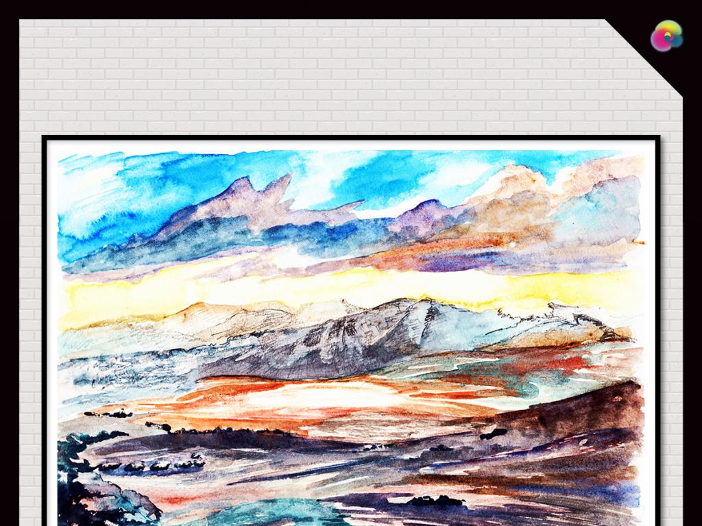 手绘水彩画艺术欧式创意抽象油画无框画