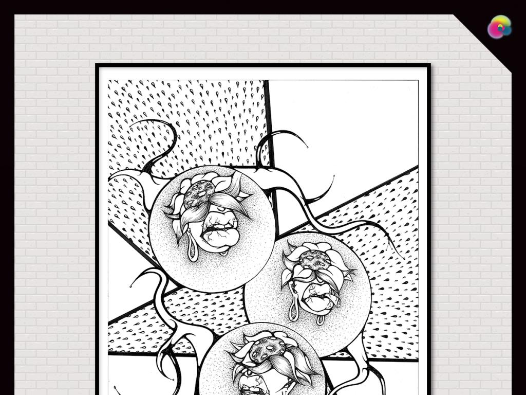 手绘黑白抽象几何静物花卉油画装饰画无框画