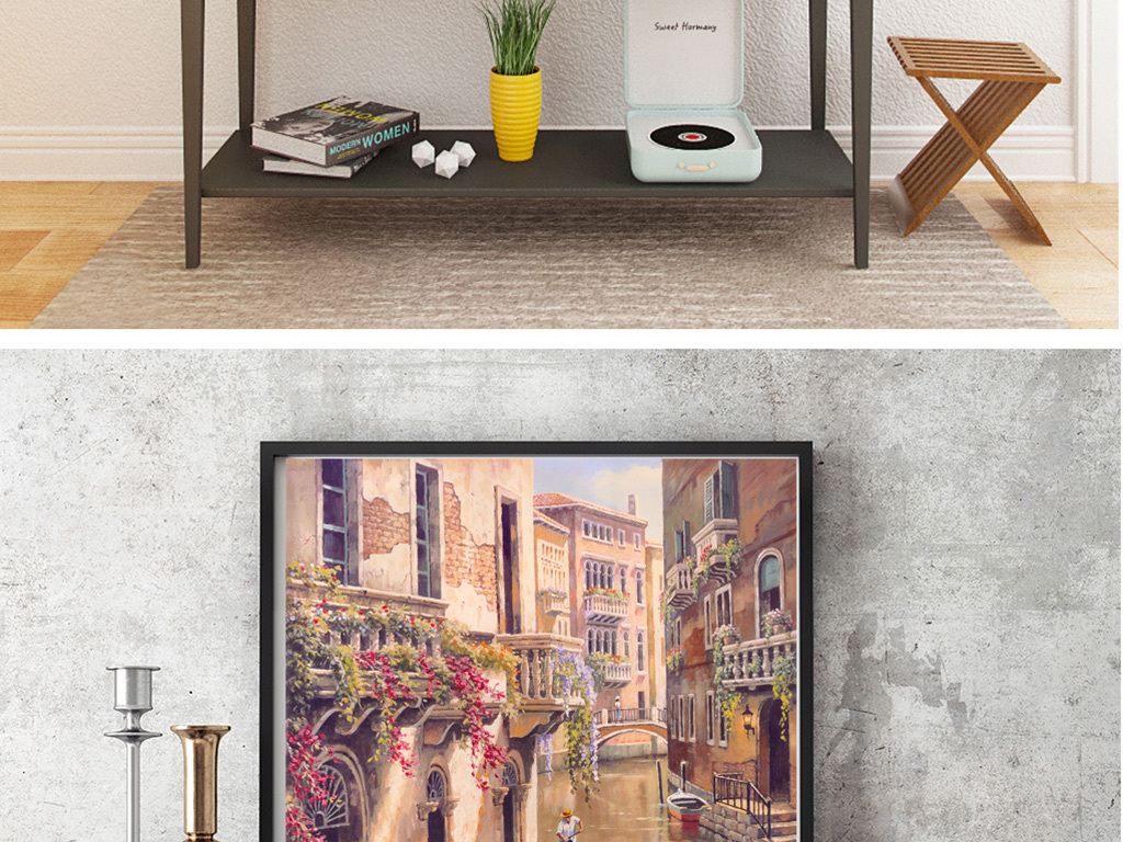 威尼斯街景油画复古油画欧洲小镇图片