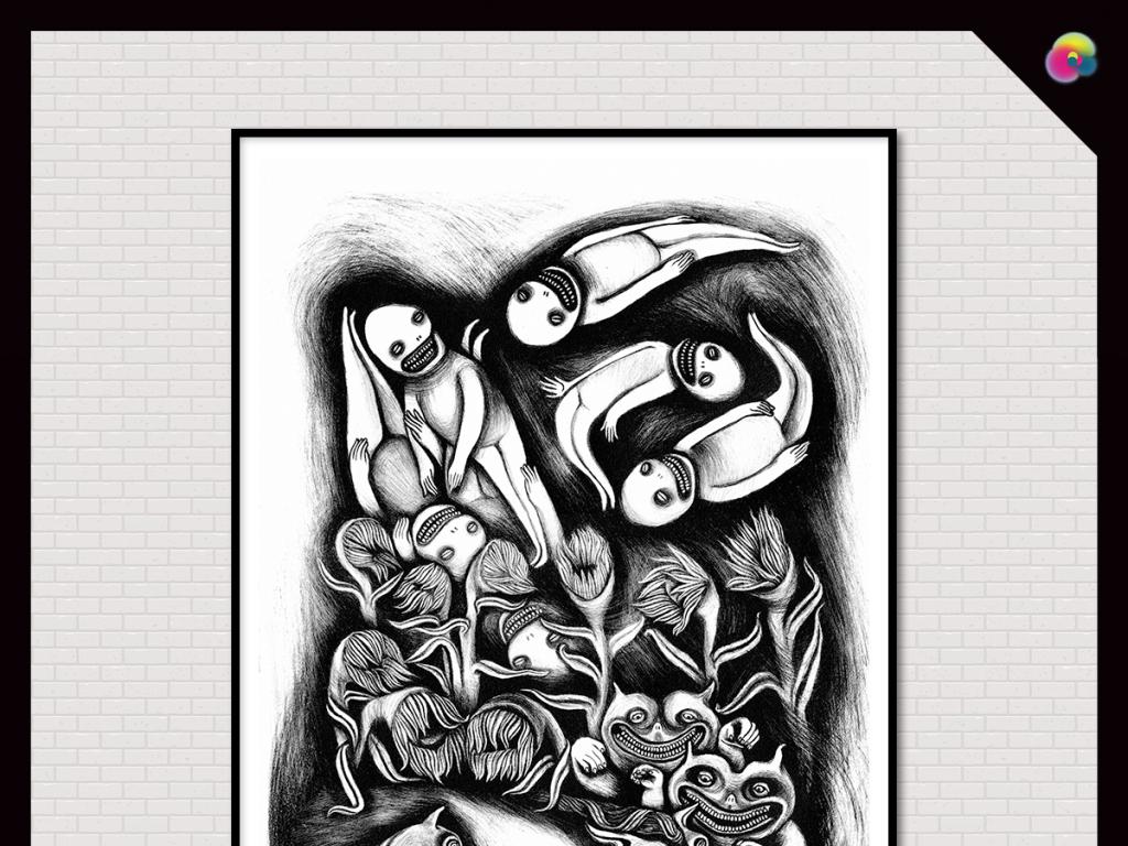 高清手绘铅笔黑白素描装饰画无框