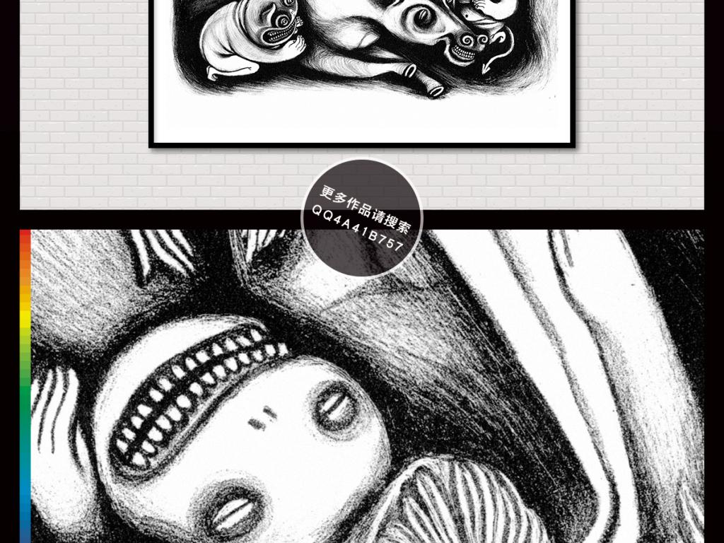 高清手绘铅笔黑白素描装饰画无框画插画