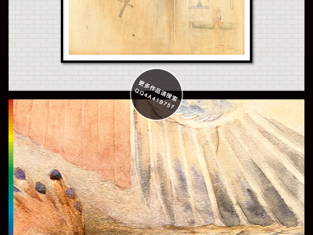 手绘复古花鸟水彩画插画电视背景墙