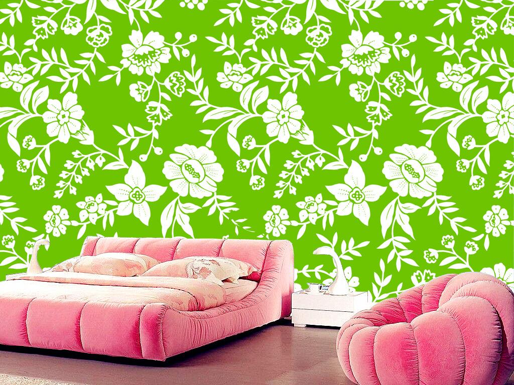 绿色背景白色花纹墙纸