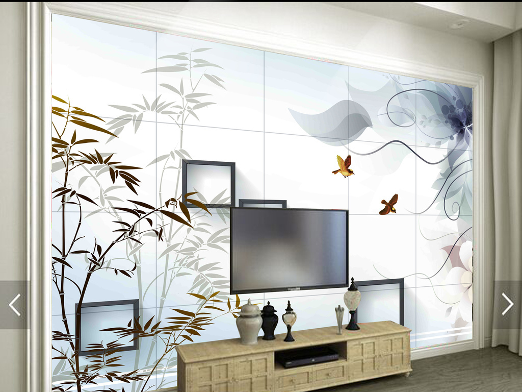 背景墙 电视背景墙 客厅电视背景墙 > 高清手绘竹子小鸟瓷砖背景墙