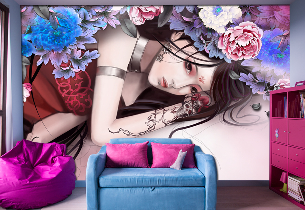 手绘媚姬古典美女电视沙发背景