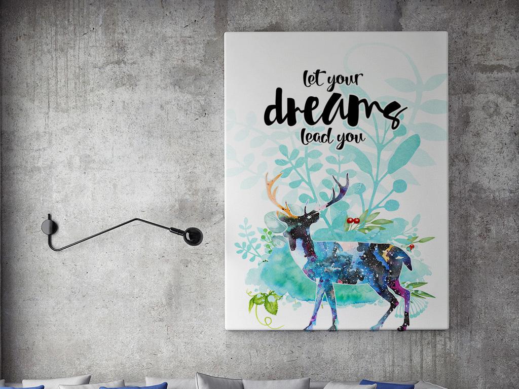 北欧风格麋鹿装饰画(图片编号:15504728)_动物图案无