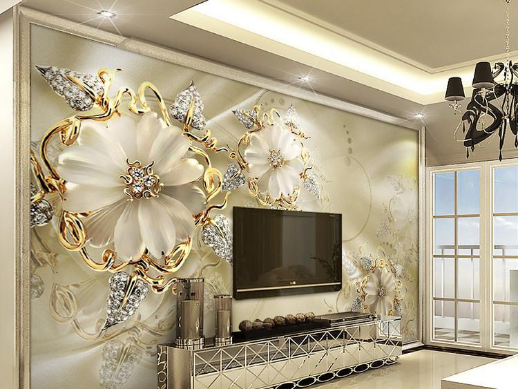 3d立体金色珠宝花朵欧式宫廷风电视背景墙