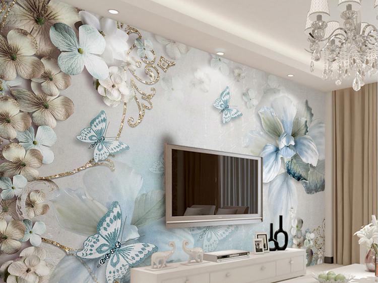 3d立体地中海花朵蝴蝶唯美珠宝电视背景墙