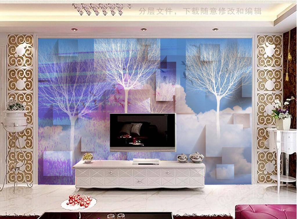 3d梦幻手绘现代简约欧式风格电视背景墙图片