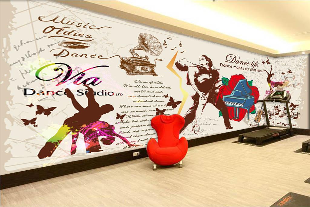 欧美手绘舞蹈拉丁舞交谊舞舞蹈室背景墙