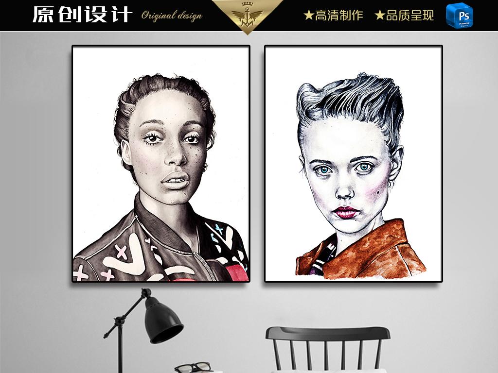 时尚模特黑白头像(图片编号:15505923)_装饰画_我图网