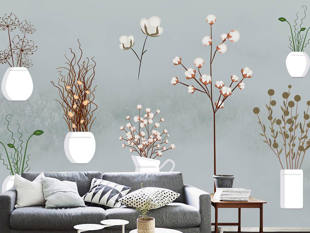 欧美手绘简约盆栽树枝花卉花朵背景墙装饰画
