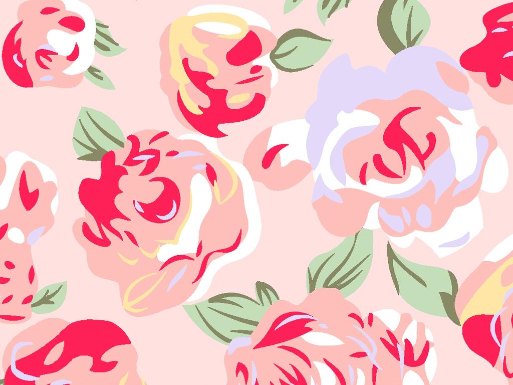 高清手绘牡丹花无缝拼接平铺墙纸背景墙