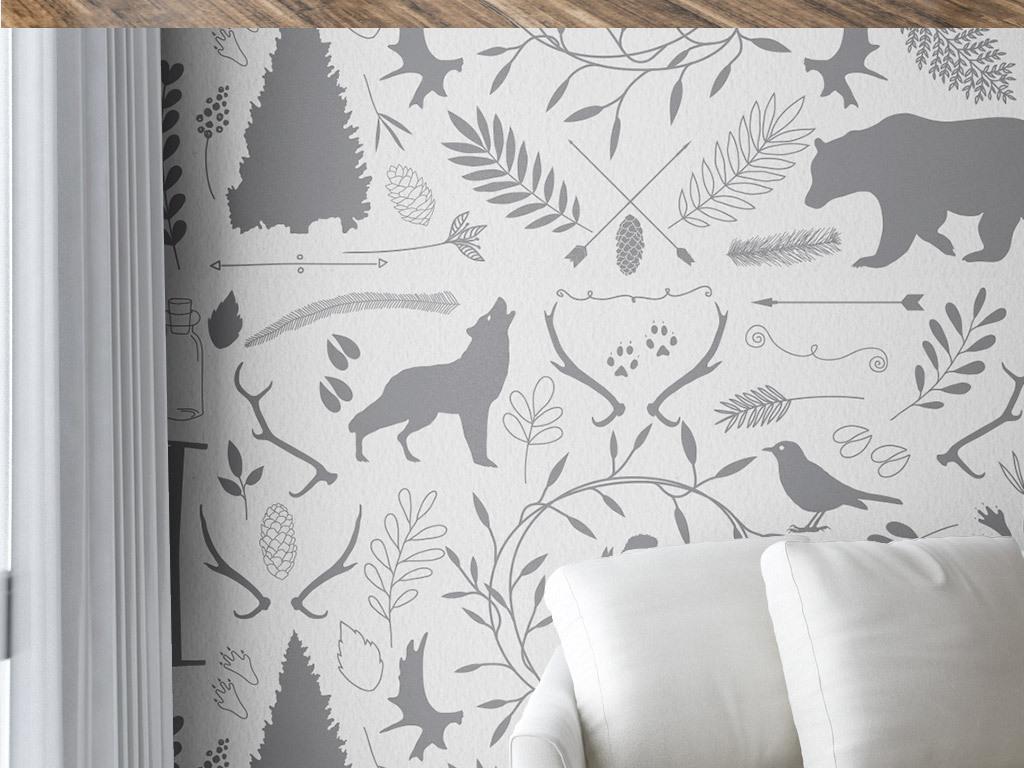 欧式创意手绘花纹室内动物