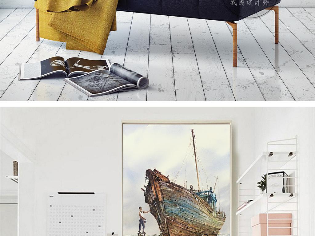 新中式渔船海水油漆手绘中国风装饰画
